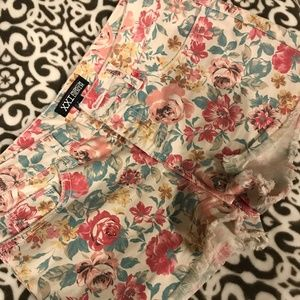 Floral cutoff shorts